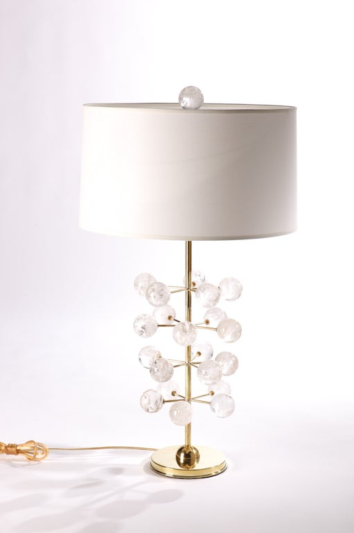 rock crystal orb brass tree lamps for sale at 1stdibs. Black Bedroom Furniture Sets. Home Design Ideas