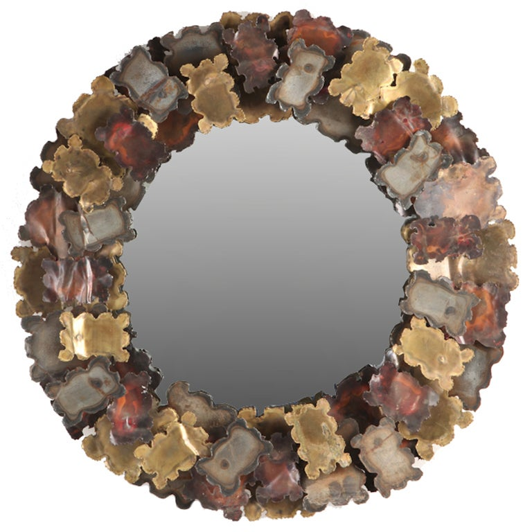 1970s Patinated Steel, Brass and Copper Sunburst Mirror