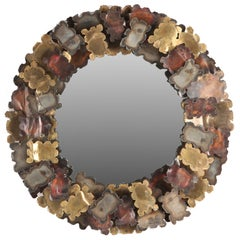 1970s Patinated Steel, Brass and Copper Sunburst Mirror