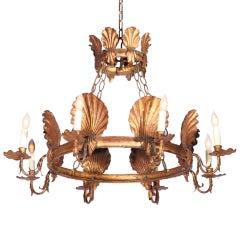 Italian Gilt Metal Seashell Chandelier W/ Crown Canopy