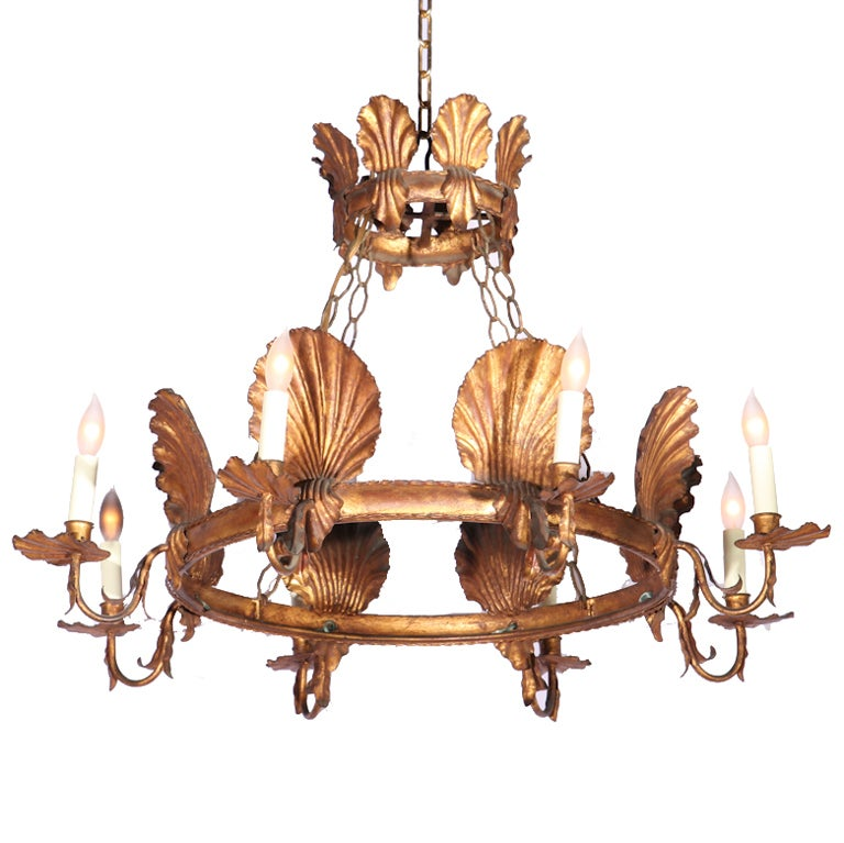 Italian Gilt Metal Seashell Chandelier W Crown Canopy at