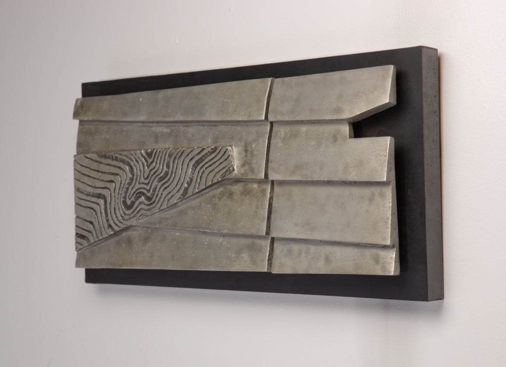 Mid-Century Modern Abstract Aluminum Wall Sculpture, circa 1981 For Sale