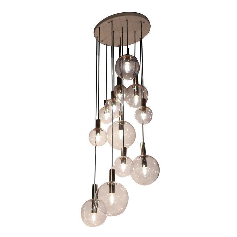 Raak Twelve Glass Sphere Chandelier At 1stdibs