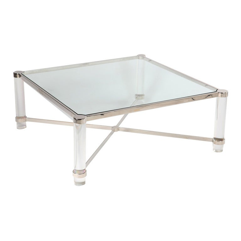 Lucite And Nickel X Base Coffee Table After Karl Springer At 1stdibs
