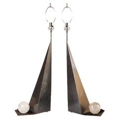 Asymmetric Rock Crystal Patinated Brass Lamps