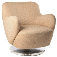 Vladmir Kagan Swivel Club Chair With Lucite Base