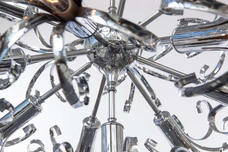 1970s Italian Chrome Sputnik Chandelier For Sale 1