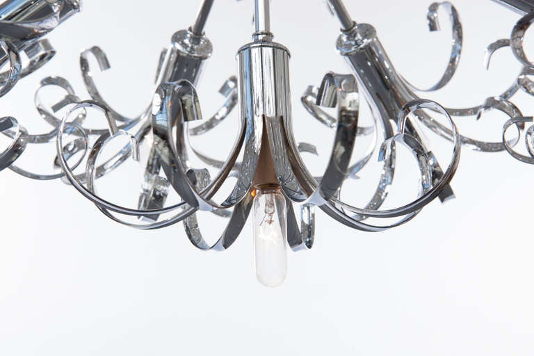 1970s Italian Chrome Sputnik Chandelier For Sale 2