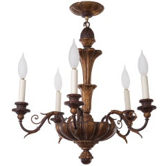 Italian 1930s Lyrical Giltwood Chandelier