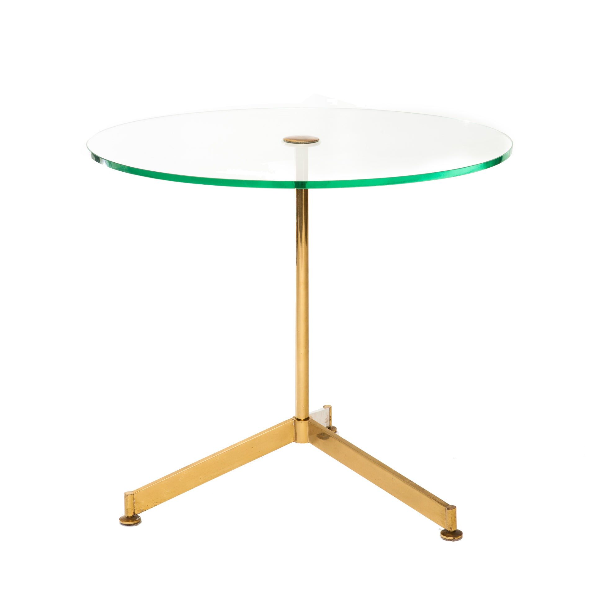 Italian 1960s Circular Glass Brass Tripod Occasional Table