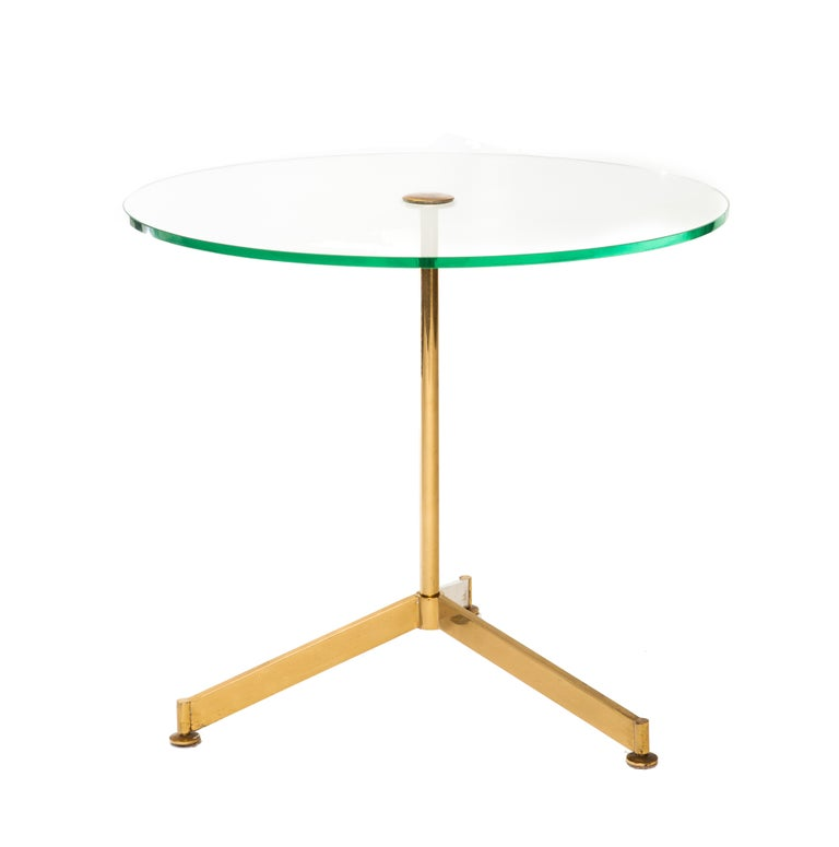 Italian 1960s Circular Glass Brass Tripod Occasional Table For Sale