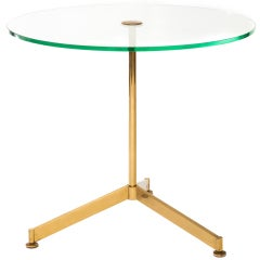 Italian 1960s Circular Glass and Brass Occasional Table