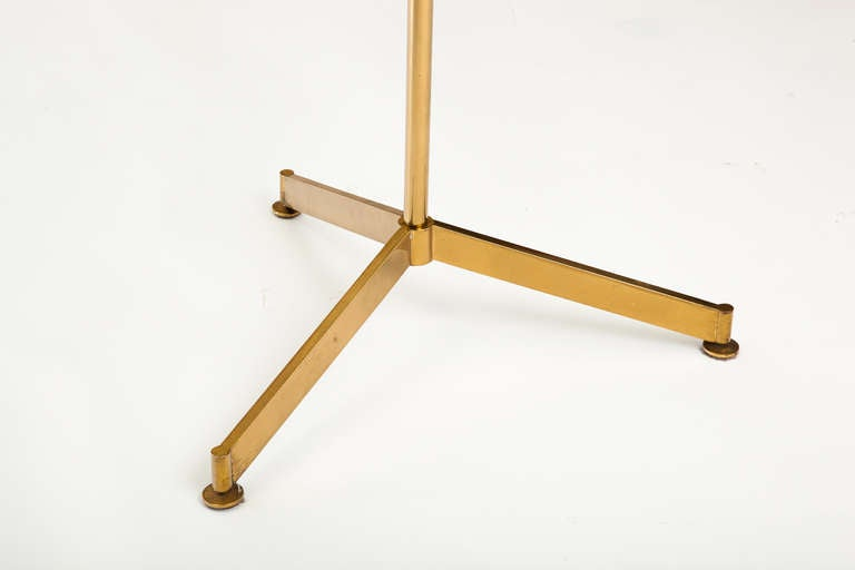 Italian 1960s Circular Glass Brass Tripod Occasional Table In Good Condition For Sale In New York, NY
