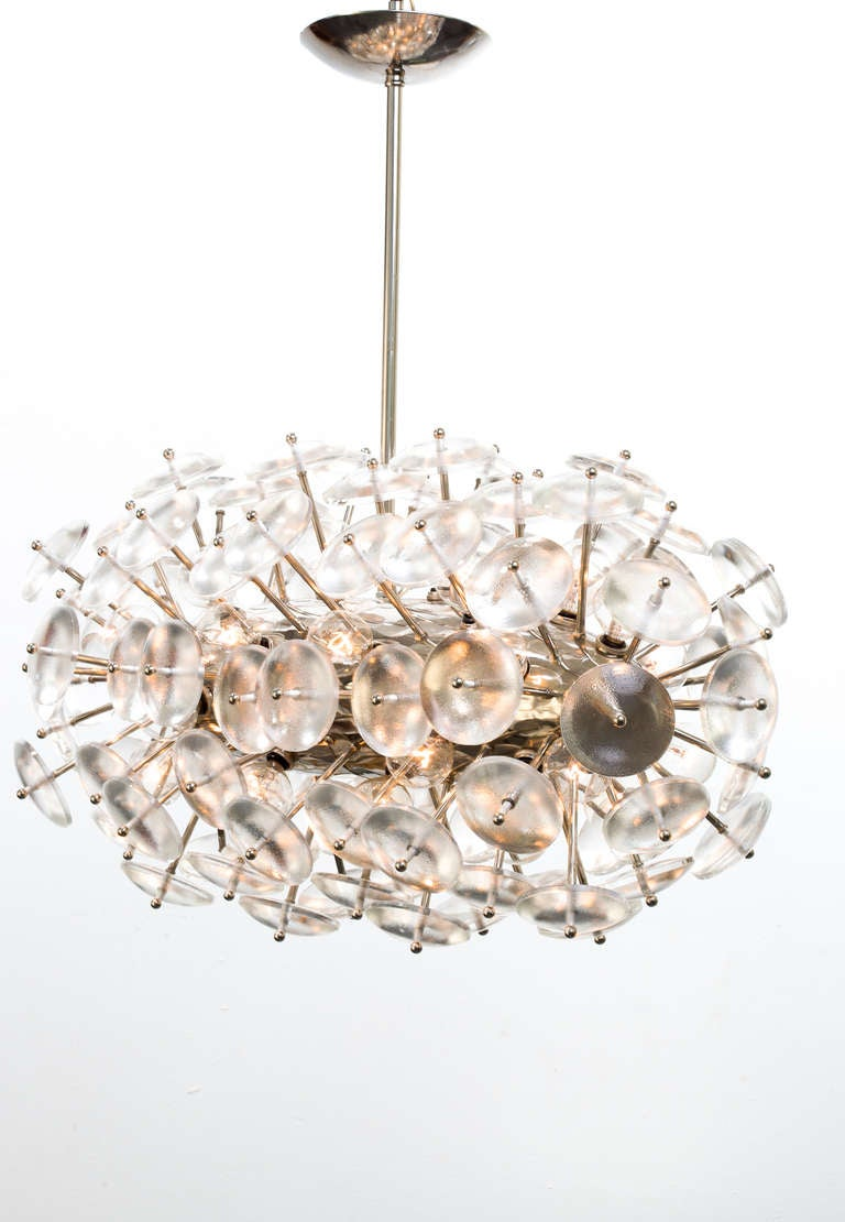 Large-scale circular convex lens glass Sputnik chandelier with nickel-plated brass frame. Custom crafted.