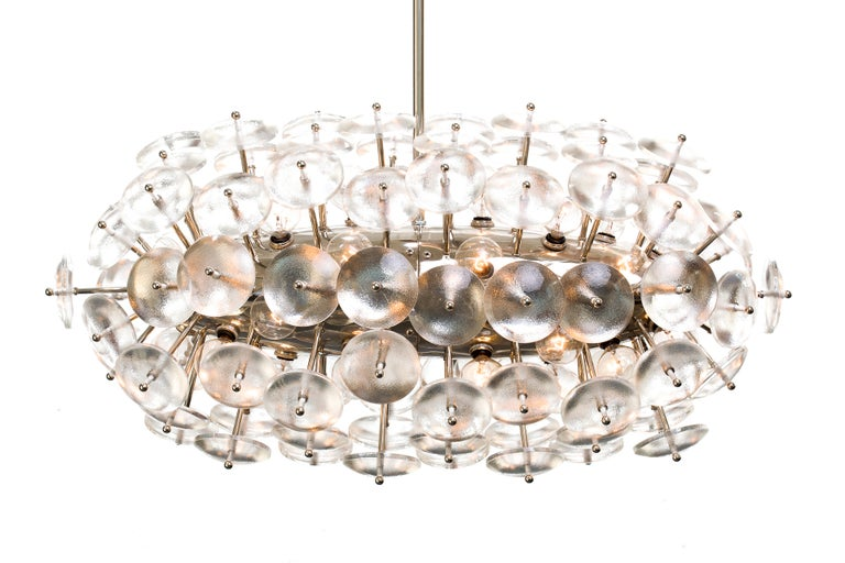 Convex Glass Sputnik Zeppelin Chandelier For Sale
