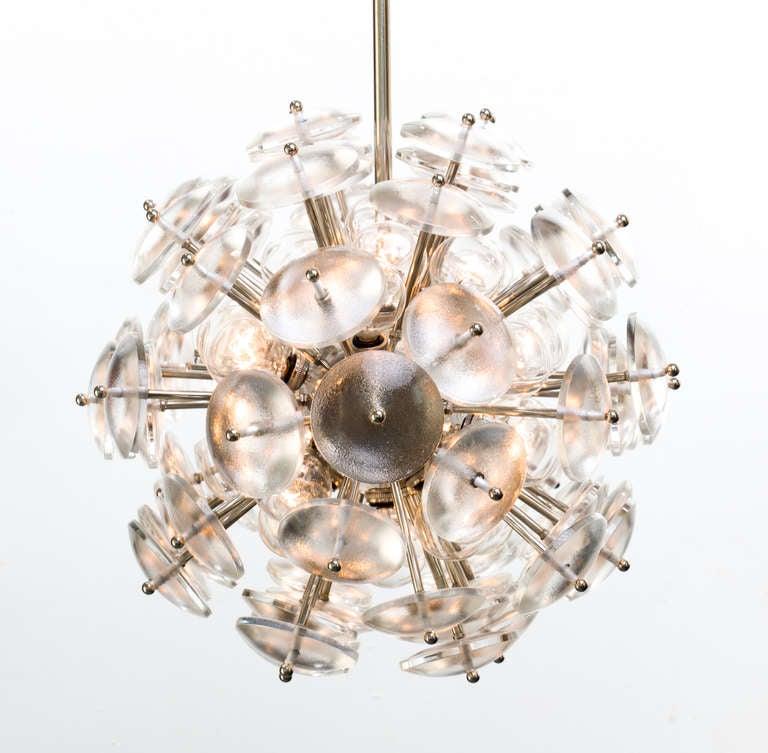 Mid-Century Modern Convex Glass Sputnik Zeppelin Chandelier For Sale