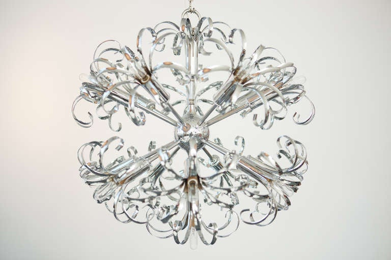 Mid-Century Modern 1970s Italian Chrome Sputnik Chandelier For Sale