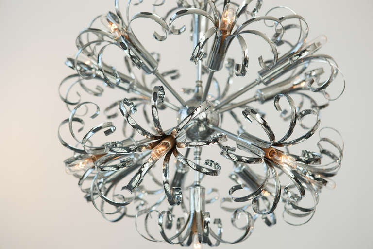 1970s Italian Chrome Sputnik Chandelier In Good Condition For Sale In New York, NY