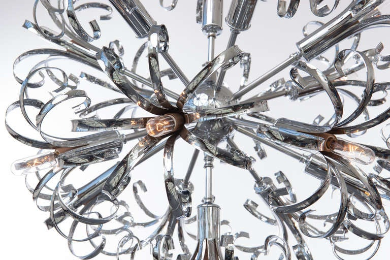 20th Century 1970s Italian Chrome Sputnik Chandelier For Sale