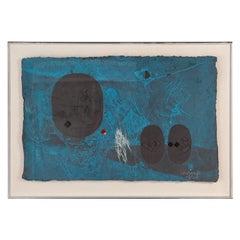 """Lebadang Abstract Work on Paper """"Memoire D'Un Dieu Sacre"""""""