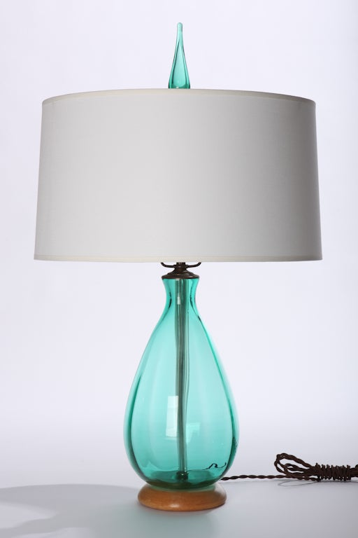 Blenko Blown Glass Lamp with Glass Finial For Sale at 1stdibs