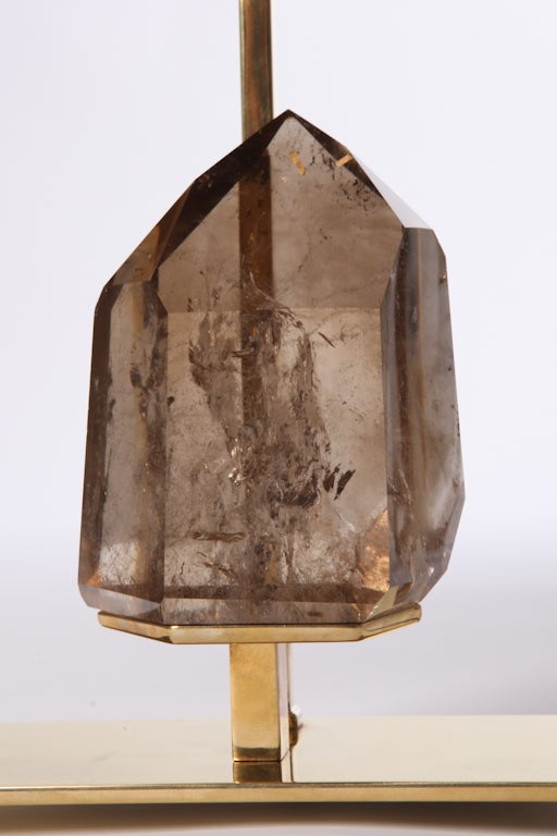 Mid-Century Modern Smoky Quartz Rock Crystal and Brass Lamps For Sale