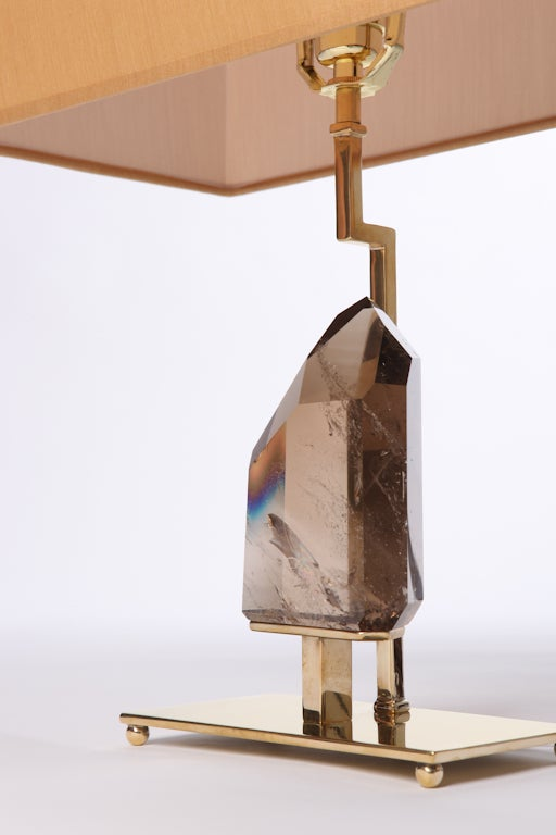 Smoky Quartz Rock Crystal and Brass Lamps In New Condition For Sale In New York, NY