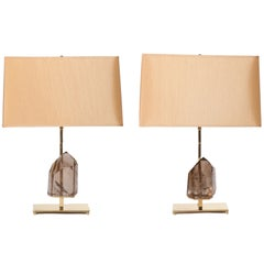 Smoky Quartz Rock Crystal and Brass Lamps