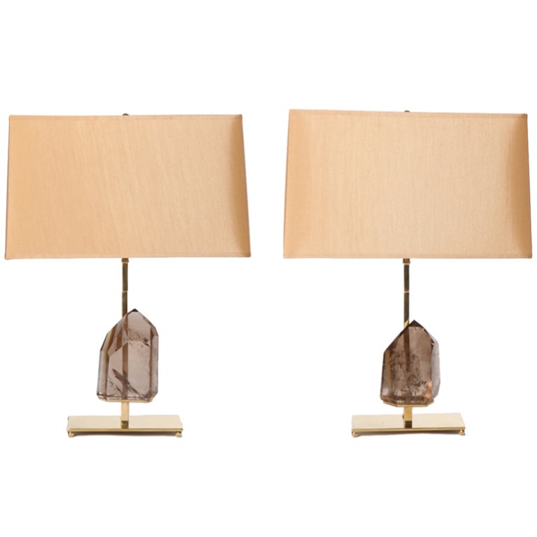 Smoky Quartz Rock Crystal and Brass Lamps For Sale