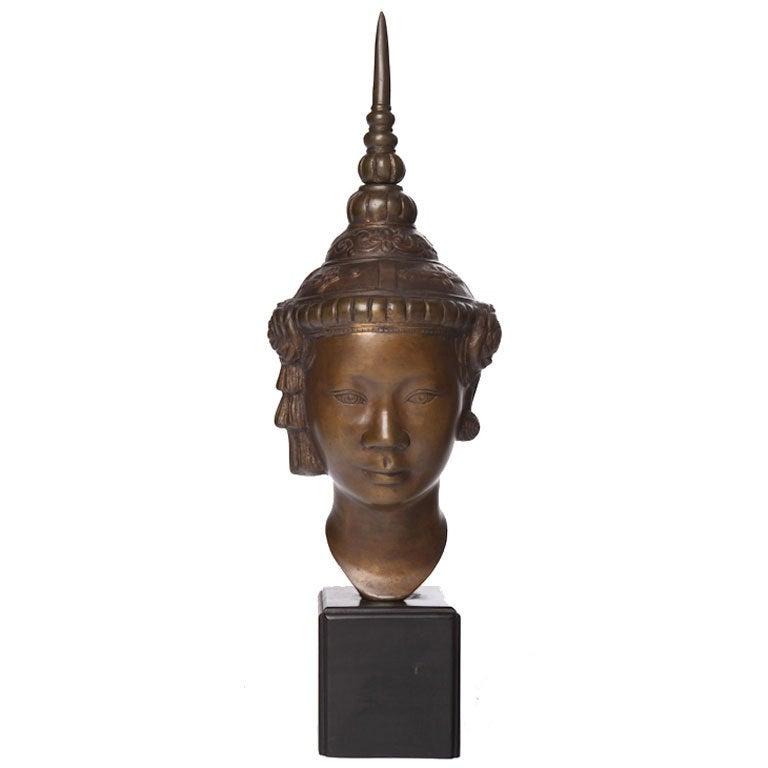 Midcentury Southeast Asian Figural Cast Metal Sculpture