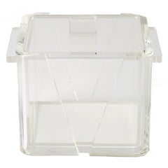 1970s Art Deco Revival Geometric Lucite Ice Bucket