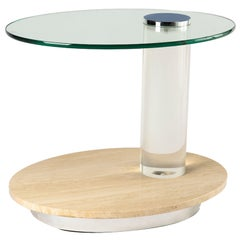 Oval Travertine and Lucite Side Table / Bar Cart