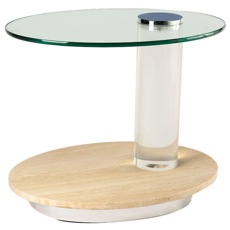 Oval Travertine and Lucite Side Table / Bar Cart For Sale