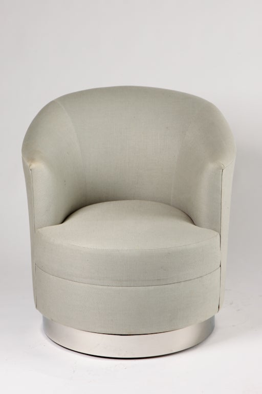 Pair Of Karl Springer Swivel Club Chairs For Sale At 1stdibs