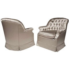 Art Deco Tufted Silk Club Armchairs after Billy Haines