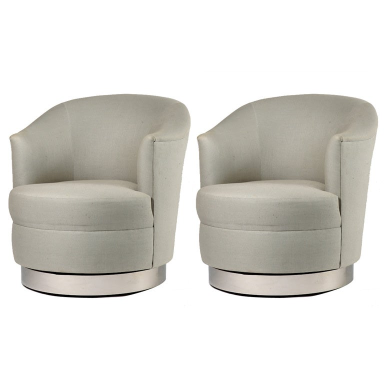 pair of karl springer swivel club chairs at 1stdibs