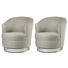 Pair of Karl Springer Swivel Club Chairs