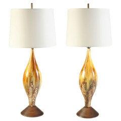 Volcanic Glaze, 1950s, Italian Ceramic Lamps
