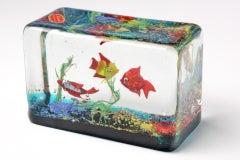 Cenedese Glass Block Aquarium Sculpture image 2