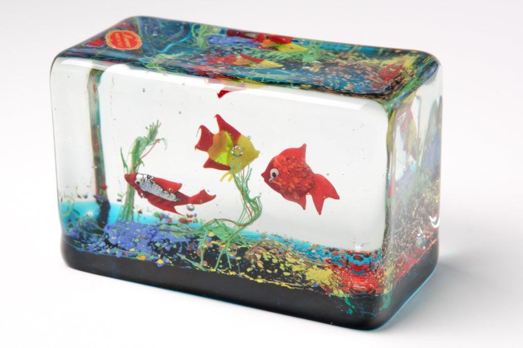 Cenedese Glass Block Aquarium Sculpture 2