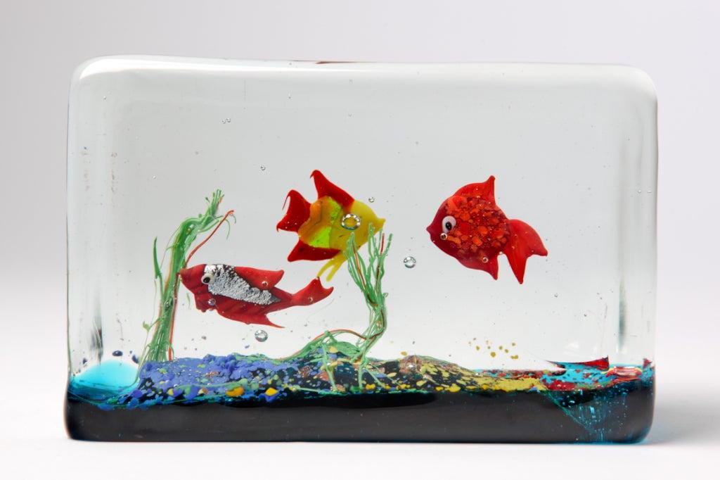 Cenedese Glass Block Aquarium Sculpture 3
