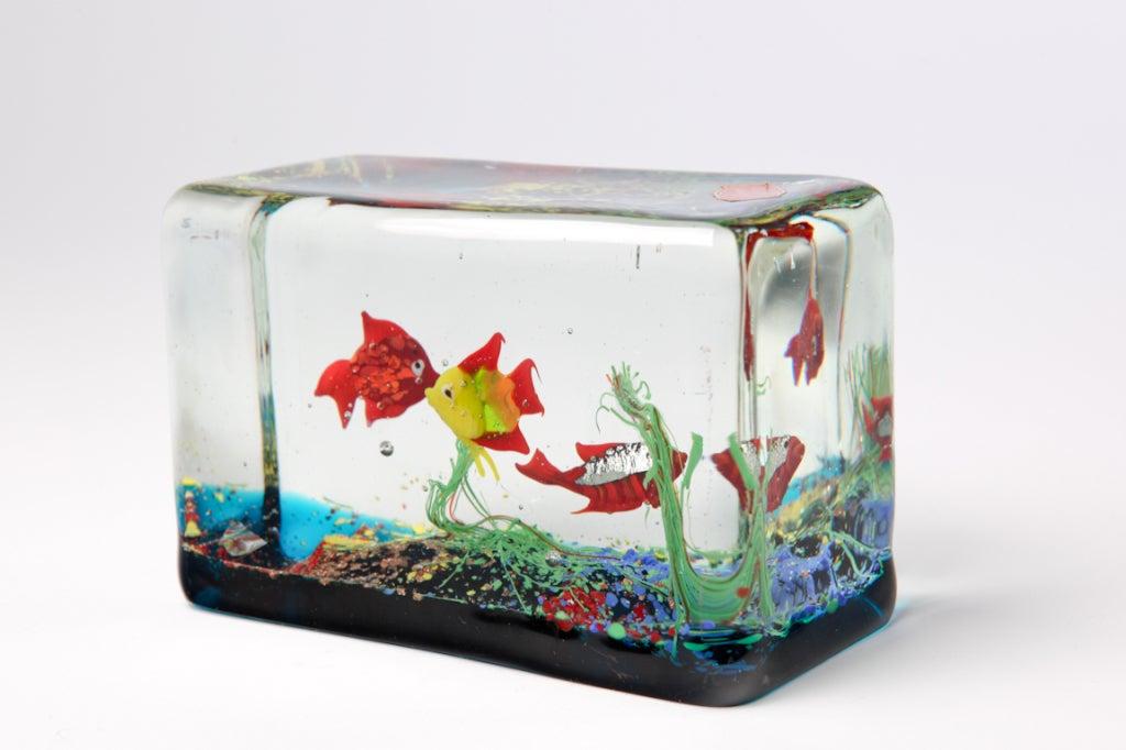 Cenedese Glass Block Aquarium Sculpture At 1stdibs