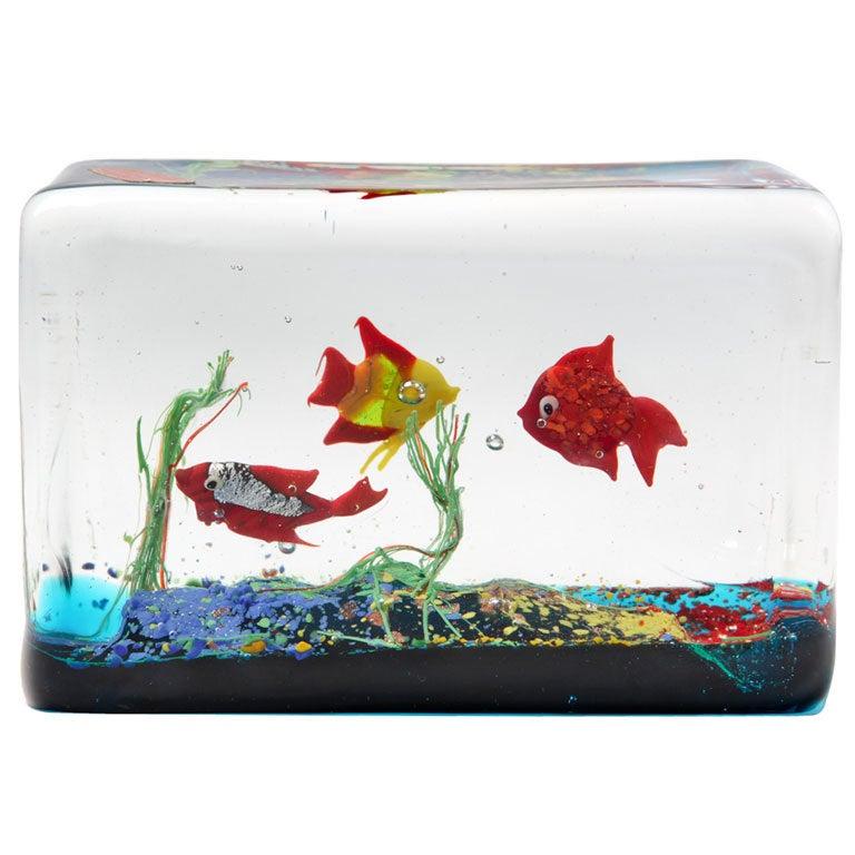 Cenedese Glass Block Aquarium Sculpture 1