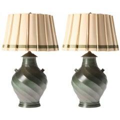 French Ceramic Vessel Lamps, circa 1950