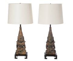 Pair of Asian Figural Lamps After James Mont
