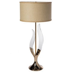 Laurel Lucite and Brass Sculptural Lamp