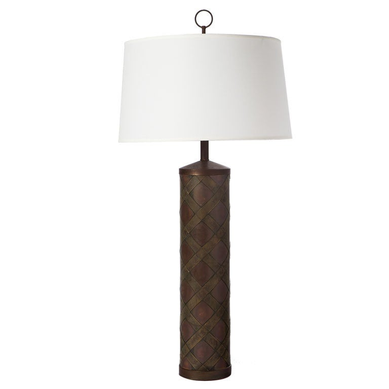 Brass and Copper Column Lamp After Paul Evans