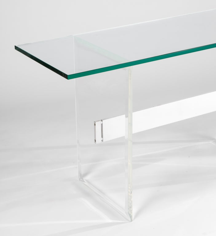 Lucite, Aluminum and Glass Console Desk 2