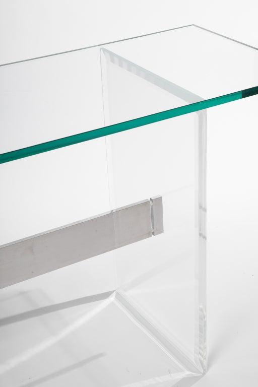 Lucite, Aluminum and Glass Console Desk 3
