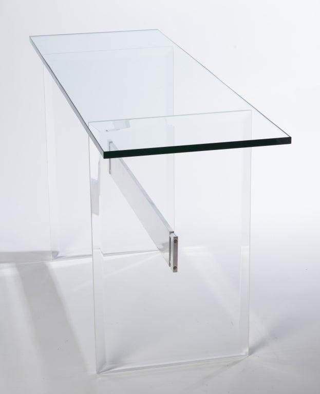 Lucite, Aluminum and Glass Console Desk 6